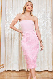 Bandeau Fringe Midi Dress in Pink