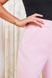 High Waisted Tailored Trousers in Pink