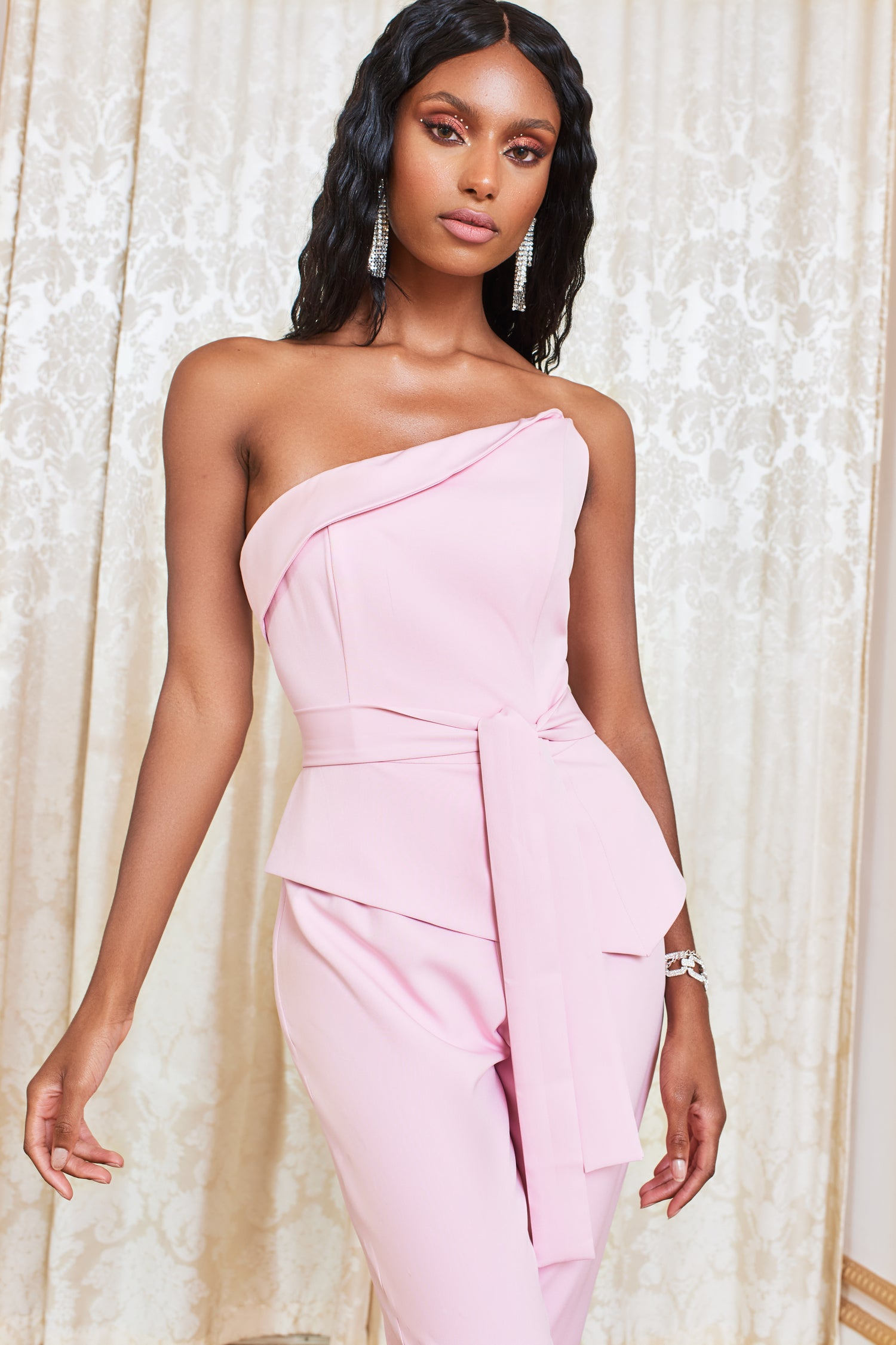 Asymmetric Bandeau Jumpsuit in Pink