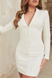 Corset Tux Mini Dress in White