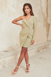 One Shoulder Blazer Mini Dress in Sage