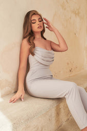 Cowl Bandeau Jumpsuit in Blue Grey