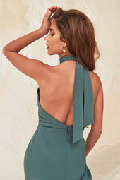 Tie Detail Open Back Asymmetric Dress in Deep Pine