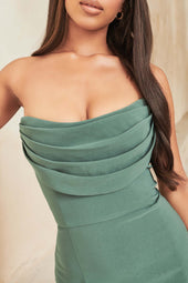 Cowl Bandeau Midi Dress in Deep Pine