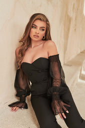 Sheer Balloon Sleeve Tailored Jumpsuit in Black