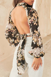 Chiffon Balloon Sleeve Open Back Top in Black Rose
