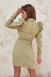 Ruffle Puff Sleeve Blazer Dress in Sage Green
