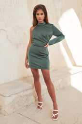 High Neck One Shoulder Mini Dress in Deep Pine