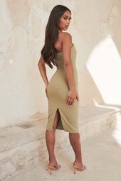 Corset Bandeau Midi Dress in Sage