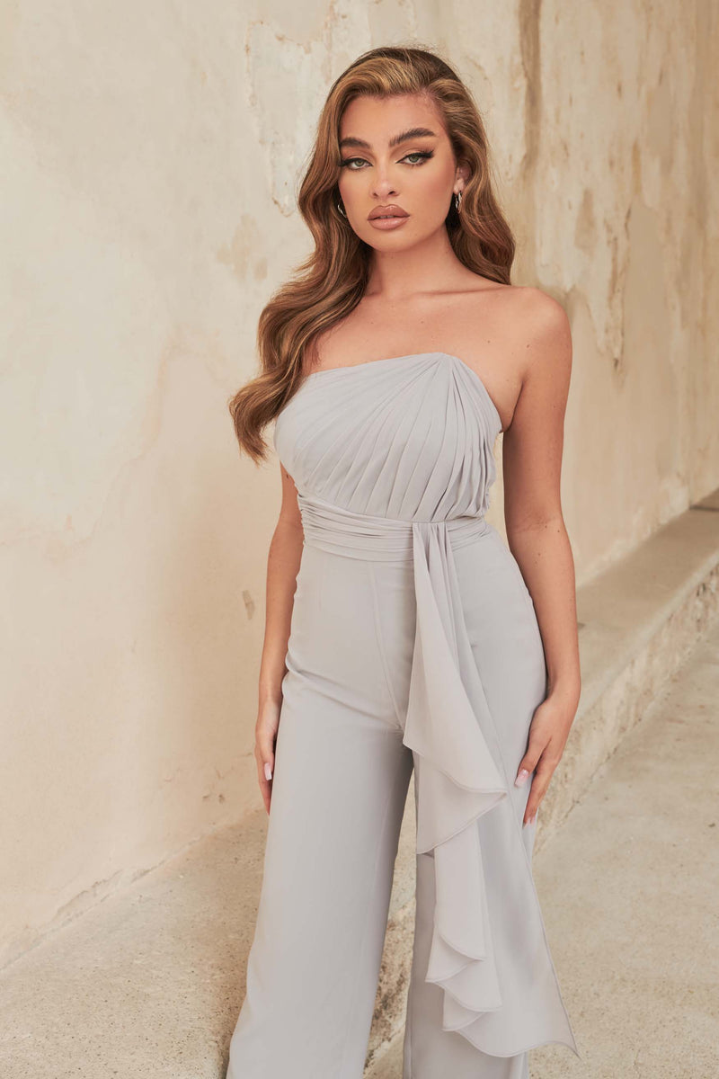 Pleated Asymmetric Bandeau Wide Leg Jumpsuit in Blue Grey