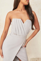 Pleated Bandeau Midi Dress in Blue Grey