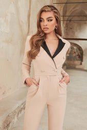 Contrast Tux Jumpsuit With Satin Lapel in Clay