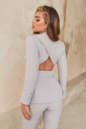 Cut Out Open Back Tailored Jacket in Grey Blue