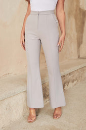 Full Length Fit And Flare Trousers in Grey Blue