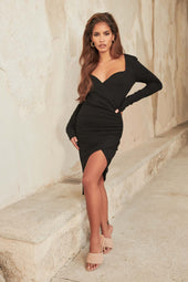 Long Sleeve Sweetheart Midi Dress in Black