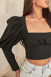 Puff Sleeve Corset Style Top in Black