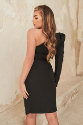 Pleated Waist One Sleeve Midi Dress in Black