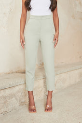 Tapered Trouser With Side Split in Sage Green