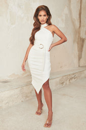 Button Detail Cut Out Midi Dress With Side Split in White