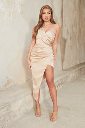 Satin Pleated Wrap Maxi Dress in Champagne