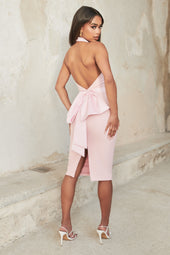 Bow Back Satin Mix Midi Dress in Pink