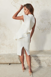 High Neck Frill Scuba Midi Dress in White