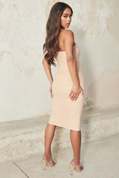 Ruched Bardot Mini Dress in Champagne