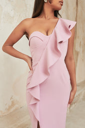 One Shoulder Ruffle Corset Midi Dress in Lilac Pink