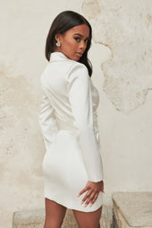 Satin Obi Belted Mini Blazer Dress in Ivory