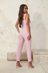 Bustier Corset Detail Jumpsuit in Lilac Pink