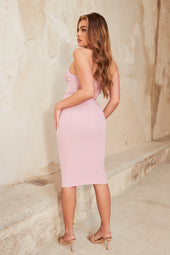 Ruched Bust Corset Midi Dress in Lilac Pink