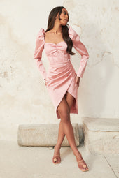 Puff Sleeve Satin Corset Midi Dress in Rose