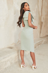 Bow Shoulder Wrap Midi Dress in Sage Green