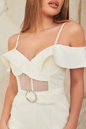 Ruffle Off Shoulder Sheer Corset Jumpsuit in White