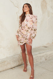 Balloon Sleeve Mini Dress in Pink Rose