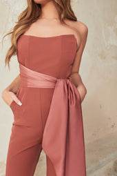 Satin Mix Draped Bandeau Jumpsuit in Dusty Rose