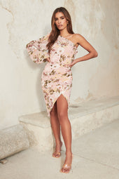 One Shoulder Balloon Sleeve Midi Dress in Pink Floral