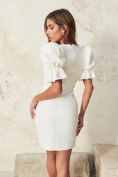 Puff Sleeve Corset Mini Dress With Lace Trim in White