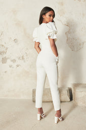 Puff Sleeve Corset Jumpsuit With Lace Trim in White