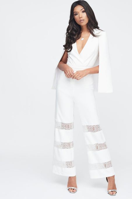 Lace Insert Cape Jumpsuit in White
