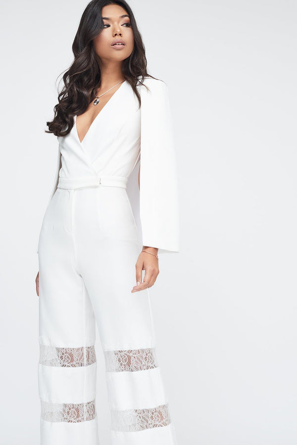 b7422277f65b ... Lace Insert Cape Jumpsuit in White