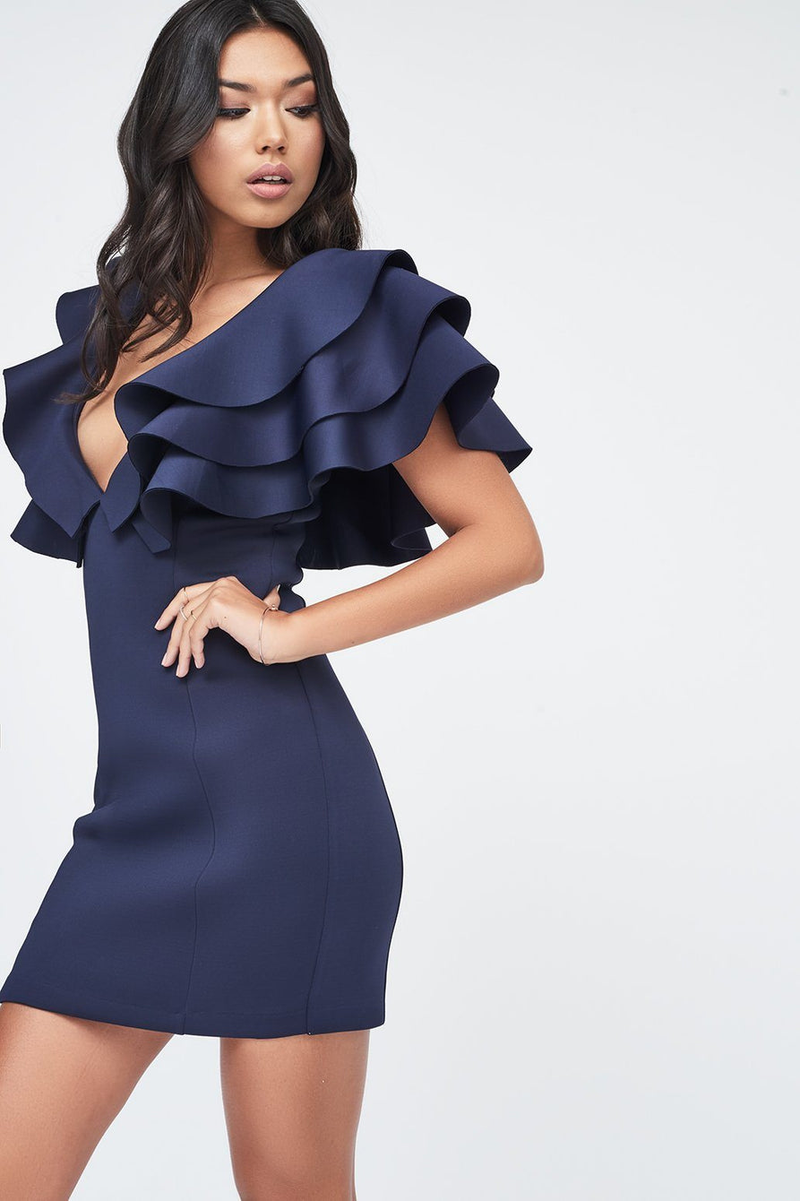 Exaggerated Tiered Sleeve Scuba Mini Dress in Navy