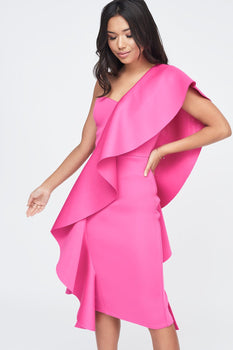 Exaggerated Frill One Shoulder Scuba Midi Dress in Pink