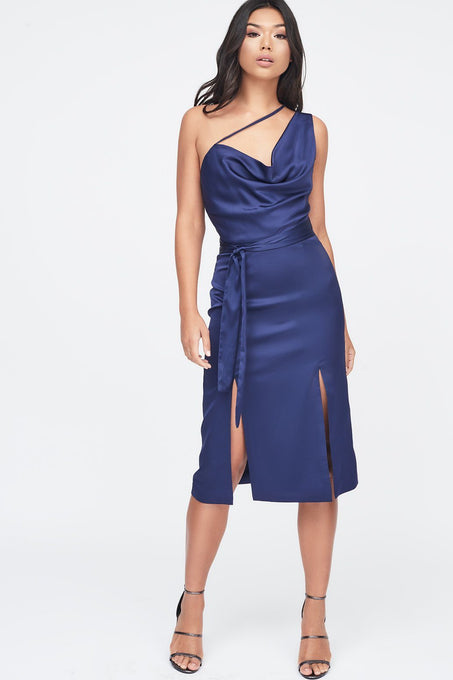 One Shoulder Cowl Neck Double Split Satin Midi Dress in Navy
