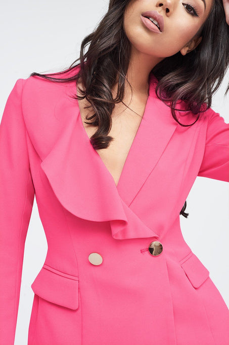 Ruffle Lapel Tux Jacket in Pink