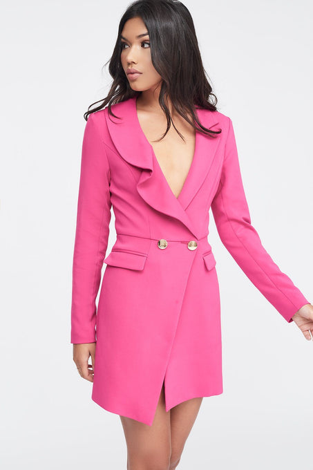 Ruffle Lapel Tux Dress in Pink