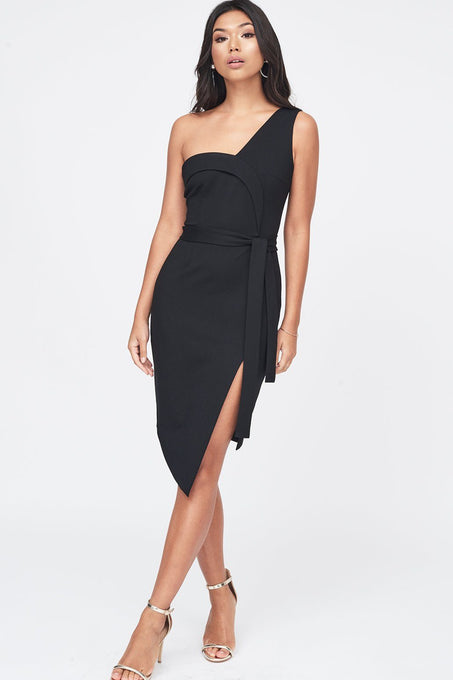 Ponte Asymmetric One Shoulder Dress in Black
