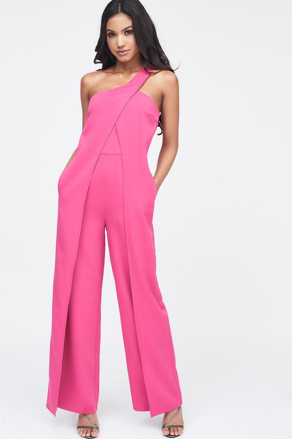 969e27a6325 One Shoulder Wrap Over Wide Leg Jumpsuit in Pink ...