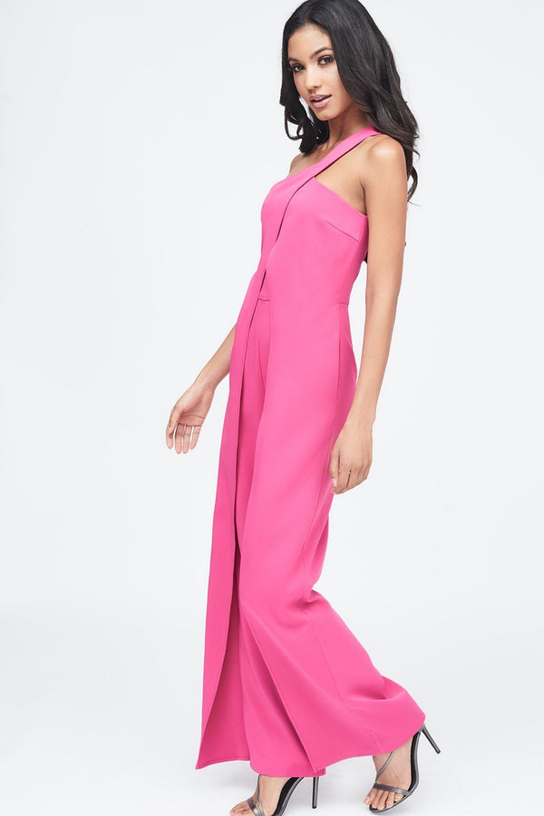 dcac09ca3ab ... One Shoulder Wrap Over Wide Leg Jumpsuit in Pink