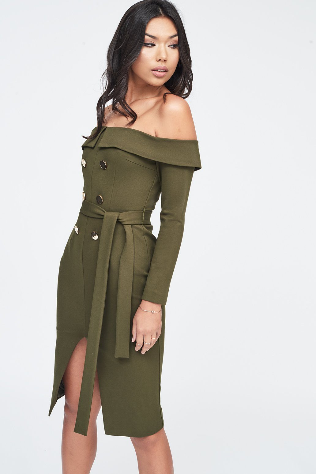 Off Shoulder Tux Dress in Khaki